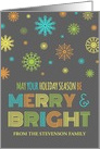 Merry & Bright Christmas Card - Colorful Snowflakes card
