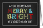 Merry & Bright We've Moved Christmas Card - Colorful Chalkboard card