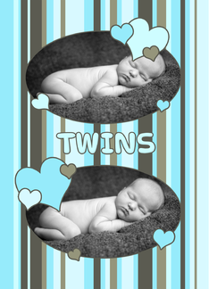 Twins Birth Announcement Boys Photo Card - Blue Stripes Greeting Card