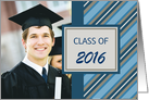 Graduation Announcement Photo Card - Blue Stripes card