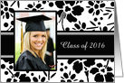 Graduation Announcement Photo Card - Black & White Floral card
