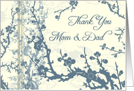 Blue Floral Parents Wedding Thank You Card