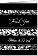 Parents Thank You Wedding Day Card - Black and White Floral card