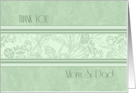 Parents Thank You Wedding Day Card - Green Floral card
