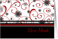 Happy Holidays We&rsquo;ve Moved Christmas Card - Red, Black, White Snow card