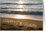 Happy 50th Birthday - Waves at Sunset card
