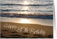 Happy 80th Birthday - Waves at Sunset card