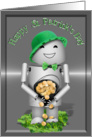 St. Patrick's Day, Robot, pot of gold, bow tie, green hat & 4 leaf clovers card