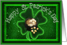 Happy St Patrick's Day with Pot of Gold and Shamrock card