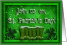 St Patrick's Day Invitation with Green Beer and Shamrocks card