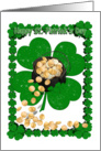 Happy St Patrick's Day with Pot of Gold and Clover Border card
