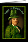Happy St Patrick's Day with Ben Franklin, Green Hat & Bow Tie card