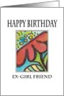 Red Flower Birthday Card Ex-girlfriend card