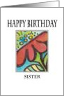 Red-flower Happy Birthday Sister card