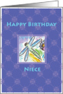 Fire Fly on Floral Happy Birthday Niece card