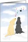 Black Lab & Yellow Labrador Dog Sing Christmas Holiday Music card