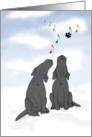 Christmas Carol Singing Black Labrador Dog, Funny card