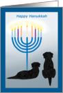 Happy Hanukkah Black Lab Dogs wth Menorah card