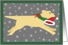 Christmas - Yellow Lab Steals Santa's Hat card