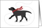 Black Labrador Ice Skating Dog Christmas Holiday card