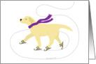 Yellow Labrador Ice Skating Dog Christmas Holiday card