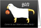 Yellow Labrador Halloween Ghost Dog Party card
