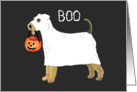 Airedale Halloween Ghost Dog with Pumpkin card