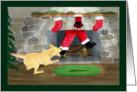 Christmas Yellow Labrador Tugs Santa down chimney card