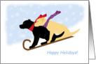 Happy Holidays Black & Yellow Labrador Dogs on Toboggan Sled card