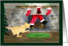 Merry Christmas Yellow Lab Tugs Santa Down Chimney card