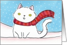 White Cat in the Christmas Snow card