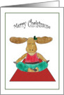 Merry Christmuse - Moose Practicing Yoga card