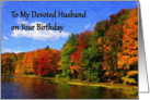 Happy Birthday Husband autumn scene card