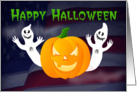 Happy Halloween military ghosts and pumpkin card