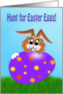 Easter Egg Hunt invitation colored egg and bunny card