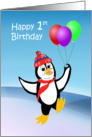 Child's First Birthday penguin dancing with balloons card