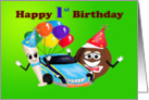 Happy 1st Birthday boy cartoon baseball bat car football with balloons card