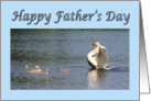 Happy Father's Day swan and cygnets from your children card