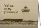 Will you be my Groomsman lighthouse on beach sepia look card