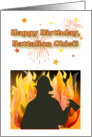Birthday for Fire Battalion Chief, fireworks card