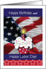 Happy Birthday on Labor Day, USA flag, cupcake card