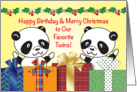 Happy Birthday on Christmas to Twins card