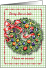 Belated Happy Birthday on Christmas, wreath card