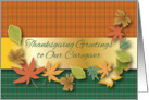 Thanksgiving Greetings to Caregiver, leaves card