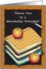 Thank You, school principal, books, apples card