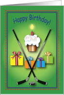 Birthday / To Ice Hockey Fan, sticks, puck card