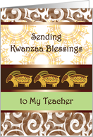 Kwanzaa for Teacher, primitive rabbits card