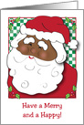 Merry Christmas, African American Santa, holly card