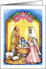 Merry Christmas to Priest, nativity scene card