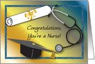 Congratulation / Nurse Graduation, diploma, stethescope card